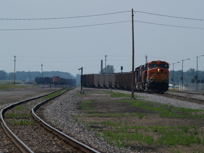 BNSF 6066 leads coal train